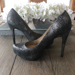 BCBGeneration Metallic Snake Skin Pumps